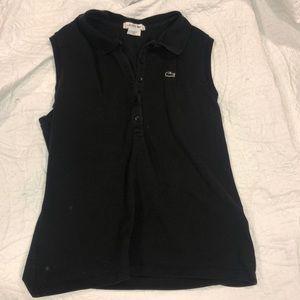 Black Lacoste sleeveless polo
